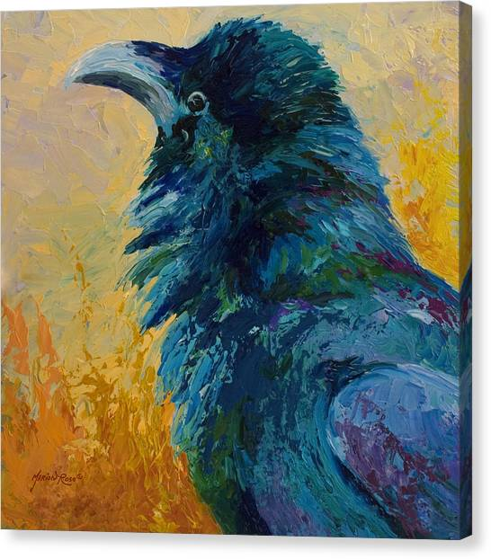 Crows Canvas Print - Raven Study by Marion Rose