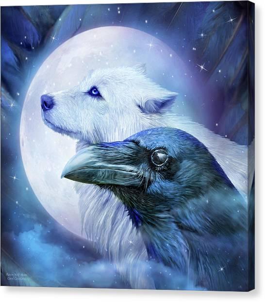 Wolf Moon Canvas Print - Raven Wolf Moon by Carol Cavalaris