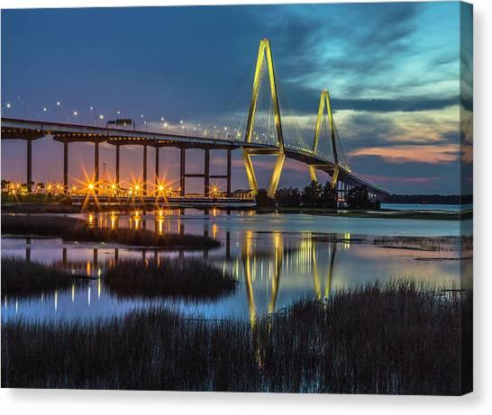 Ravenel Bridge Reflection Canvas Print