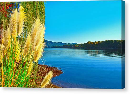 Ravenna Grass Smith Mountain Lake Canvas Print