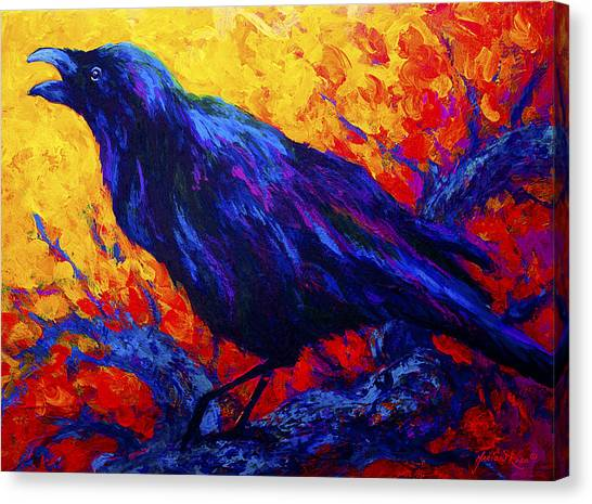 Crow Canvas Print - Raven's Echo by Marion Rose