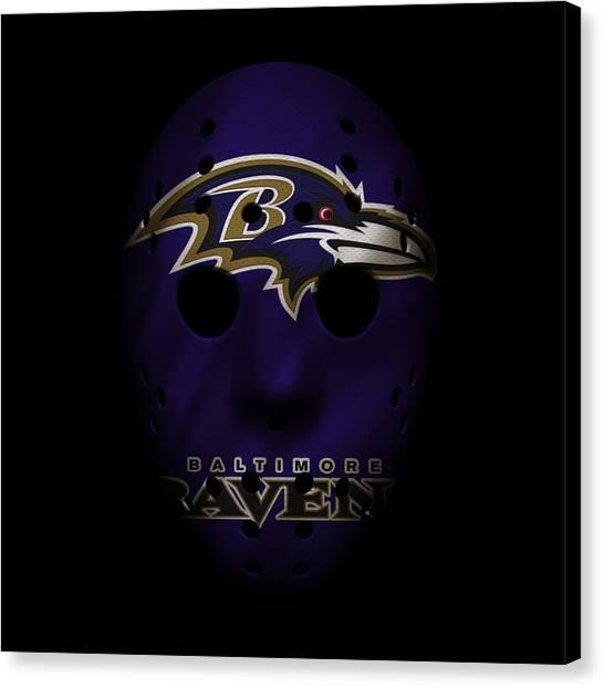 Baltimore Ravens Canvas Print - Ravens War Mask by Joe Hamilton