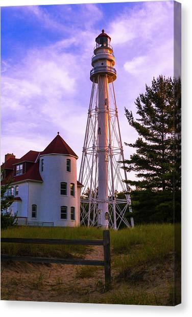 Rawley Point Lighthouse Canvas Print by Chuck De La Rosa