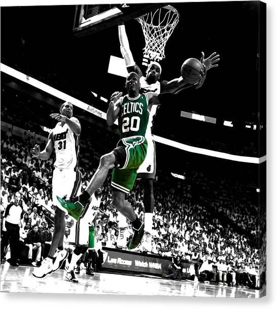 Milwaukee Bucks Canvas Print - Ray Allen 2c by Brian Reaves