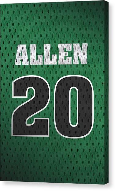 Celtics Canvas Print - Ray Allen Boston Celtics Retro Vintage Jersey Closeup Graphic Design by Design Turnpike