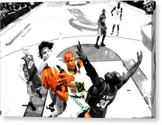Milwaukee Bucks Canvas Print - Ray Allen by Brian Reaves