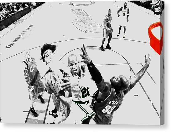 University Of Connecticut Canvas Print - Ray Allen In Traffic by Brian Reaves