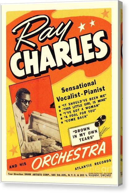 Ray Charles Rock N Roll Concert Poster 1950s Canvas Print