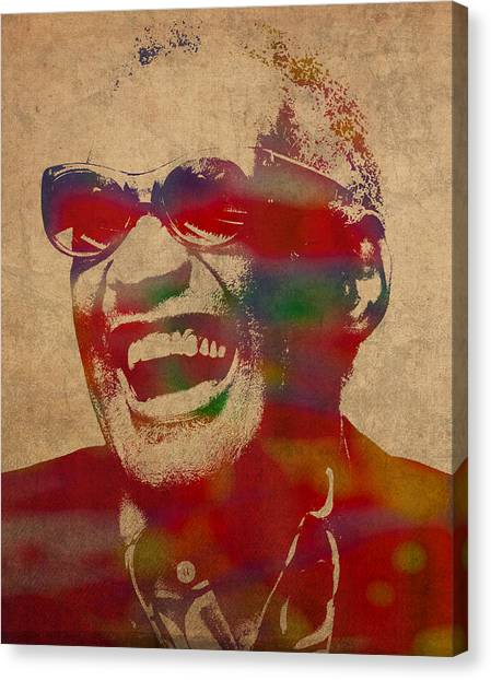 Ray Canvas Print - Ray Charles Watercolor Portrait On Worn Distressed Canvas by Design Turnpike
