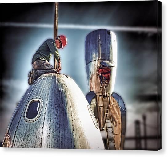 Raygun Gothic Rocketship Safe Landing Canvas Print