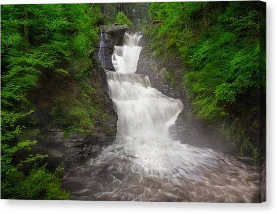 Canvas Print featuring the photograph Raymondskill Falls by Susan Candelario