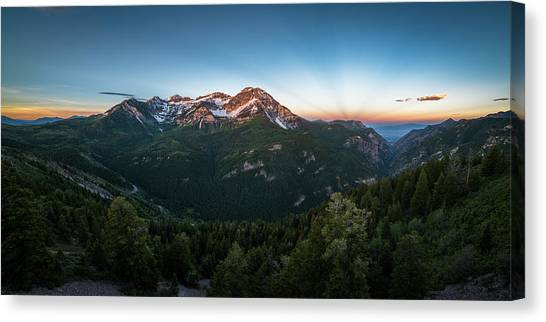 American Fork Canyon Canvas Print - Rays Of Light Over Timpanogos by James Udall