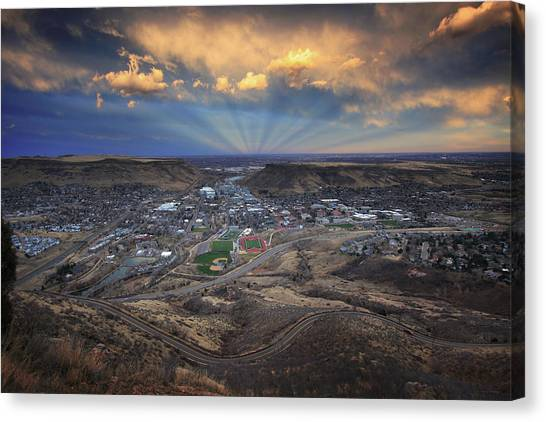 Rays Over Golden Canvas Print
