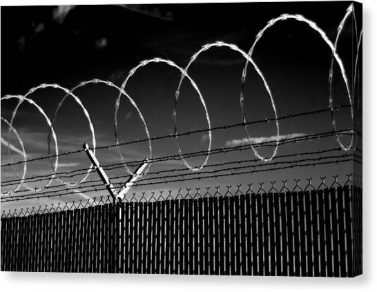 Canvas Print featuring the photograph Razor Wire In The Sun by Beverly Stapleton