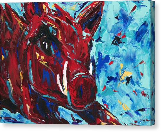 University Of Arkansas Canvas Print - Razorback by Beth Lenderman