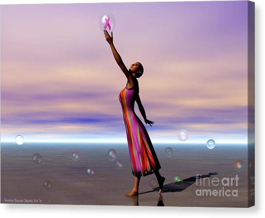 Reaching For A Cure Canvas Print by Sandra Bauser Digital Art