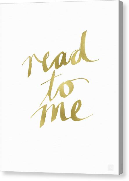 Libraries Canvas Print - Read To Me Gold- Art By Linda Woods by Linda Woods
