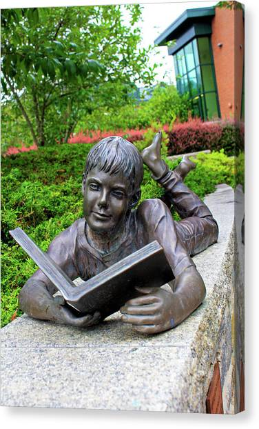 Sun Belt Canvas Print - Reading Boy Statue by Selena Wagner