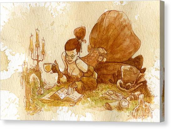 Steampunk Canvas Print - Reading by Brian Kesinger