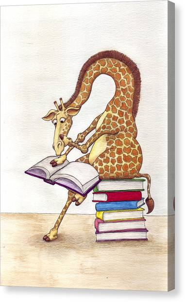 Giraffes Canvas Print - Reading Giraffe by Julia Collard