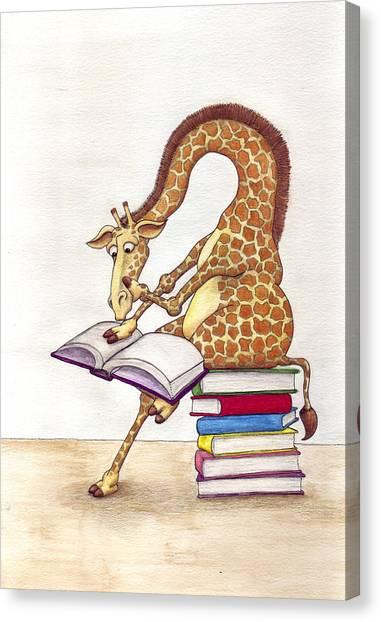 Giraffes Canvas Print - Reading Giraffe by Julia Collard