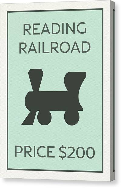 Vintage Railroad Canvas Print - Reading Railroad Vintage Monopoly Board Game Theme Card by Design Turnpike