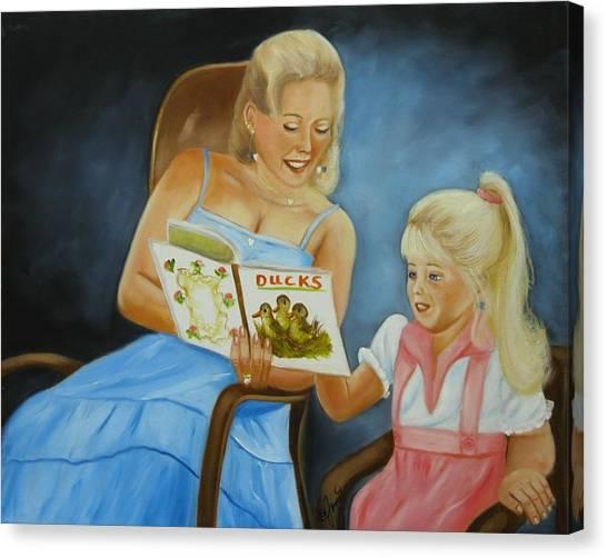 Reading With Gramma Canvas Print by Joni McPherson
