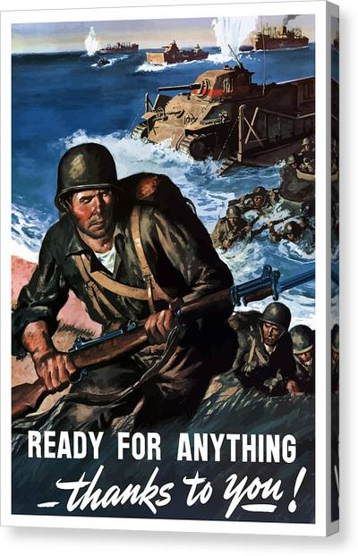 Tanks Canvas Print - Ready For Anything - Thanks To You by War Is Hell Store