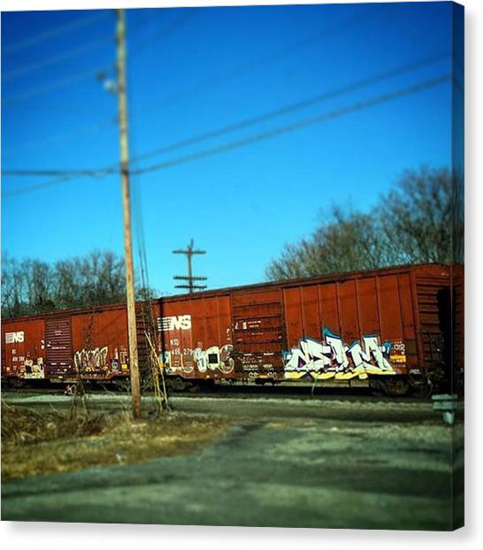 Freight Trains Canvas Print - Real #boxcar Or #miniature #graffiti by Rob Murray