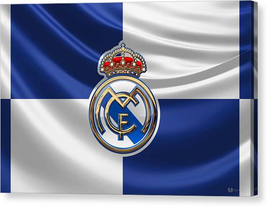 Real Madrid Canvas Print - Real Madrid C F - 3 D Badge Over Flag by Serge Averbukh