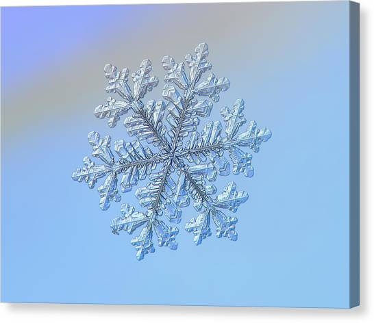 Canvas Print featuring the photograph Real Snowflake - Hyperion by Alexey Kljatov