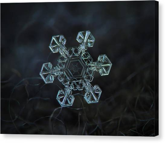 Canvas Print featuring the photograph Real Snowflake - Ice Crown New by Alexey Kljatov