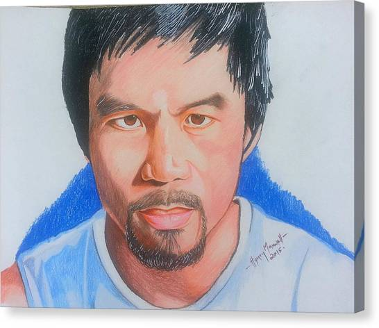 Manny Pacquiao Canvas Print - Realistic Drawing Of Manny Pacquiao by Henry Maxwell