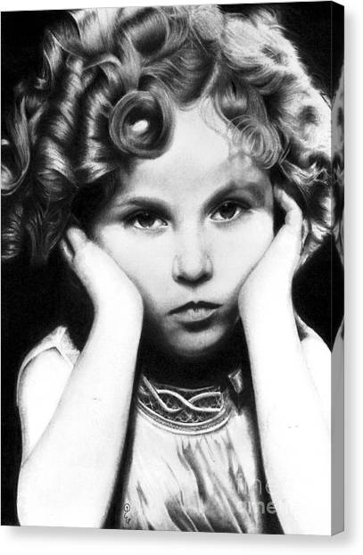 Shirley Temple Canvas Print - Realistic Pencil Drawing Of Shirley Temple by Debbie Engel