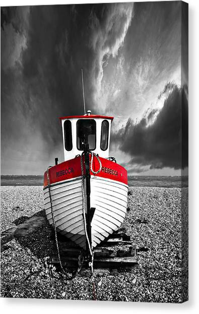 Fishing Boats Canvas Print - Rebecca Wearing Just Red by Meirion Matthias