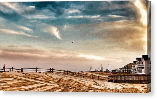 Rebuilding The Ortley Dunes  Canvas Print by Vincent DeLucia