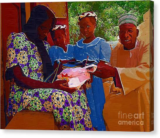 Receiving Gifts Canvas Print by Deborah Selib-Haig DMacq