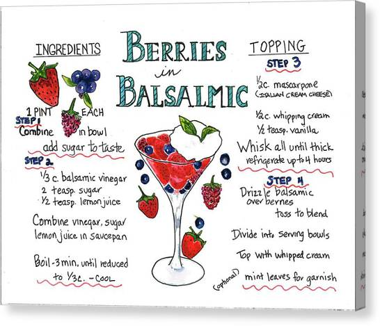 Recipe- Berries In Balsamic Canvas Print