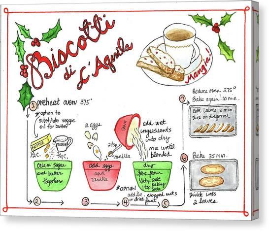 Recipe Biscotti Canvas Print