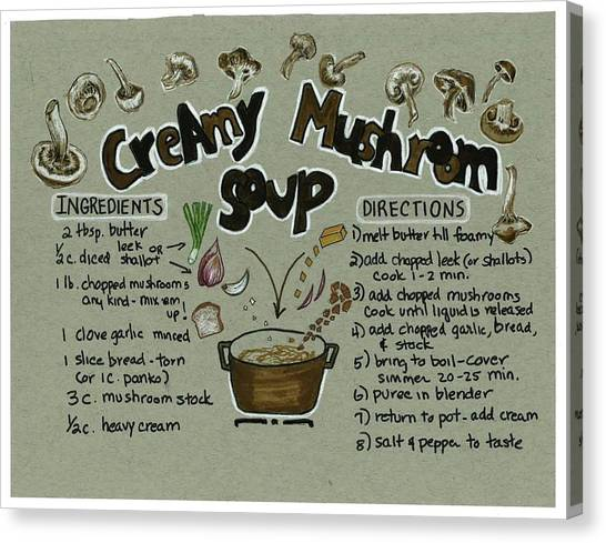 Recipe Mushroom Soup Canvas Print