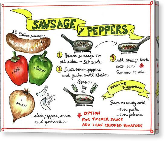 Recipe Sausage And Peppers Canvas Print