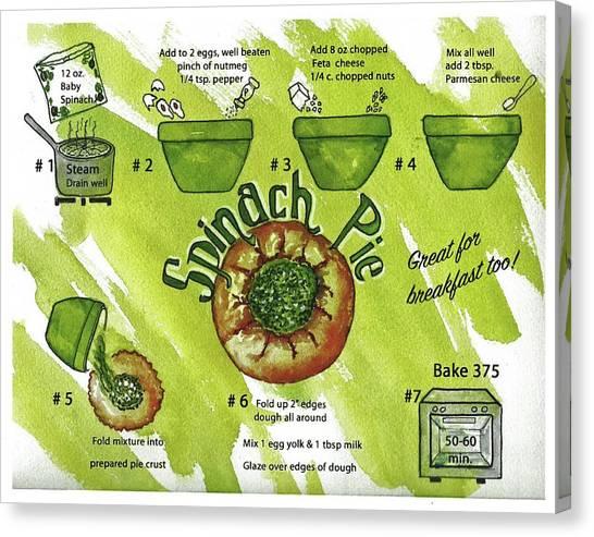 Recipe-spinach Pie Canvas Print