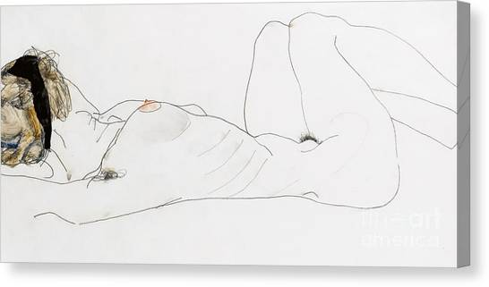 Laying Canvas Print - Reclining Female Nude by Egon Schiele