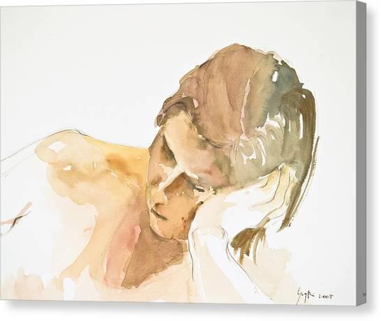 Reclining Head Canvas Print by Eugenia Picado