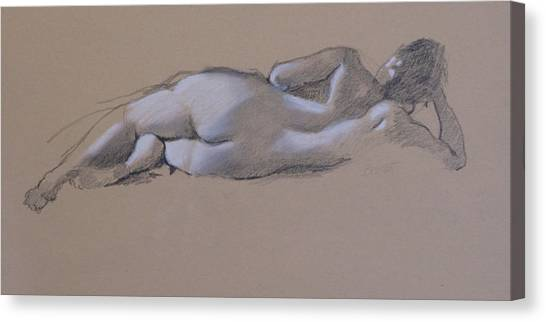 Reclining Nude 1 Canvas Print by Robert Bissett