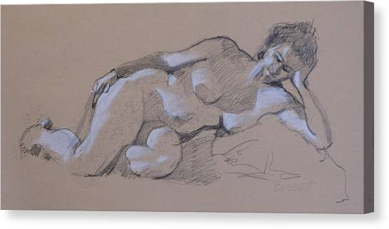 Reclining Nude 2 Canvas Print by Robert Bissett