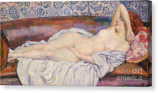 Calm Down Canvas Print - Reclining Nude  by Theo van Rysselberghe