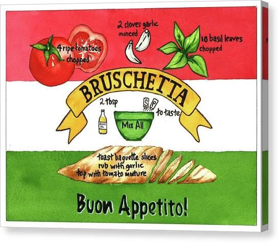Recpe-bruschetta Canvas Print