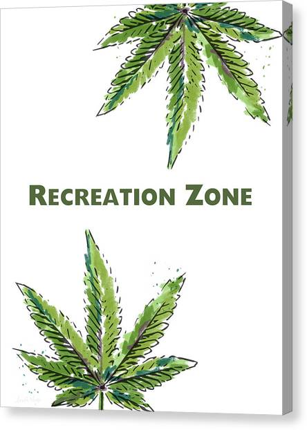 Marijuana Canvas Print - Recreation Zone Sign- Art By Linda Woods by Linda Woods