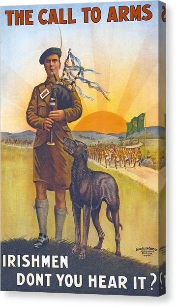 Bagpipes Canvas Print - Recruitment Poster The Call To Arms Irishmen Dont You Hear It by English School